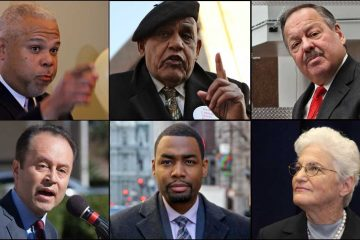 Candidates for mayor of Philadelphia (clockwise from top left) Anthony Hardy Williams, T. Milton Street, Nelson Diaz, Lynne Abraham, Doug Oliver, and Ken Trujillo. (NewsWorks file photos)