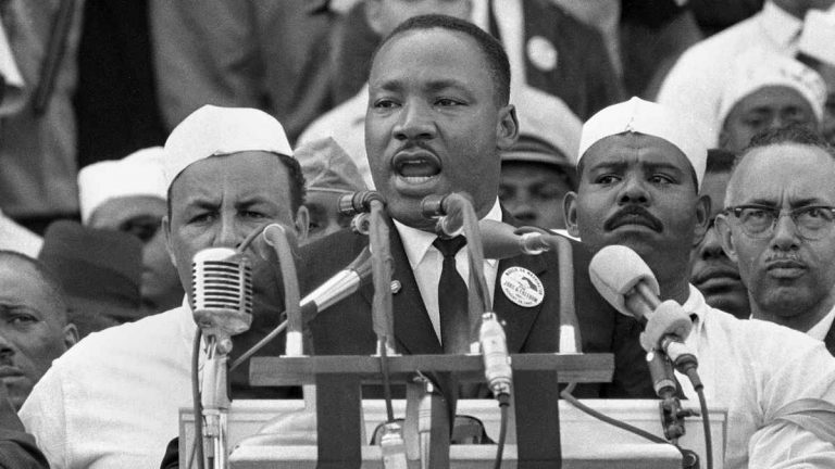 Aug. 28, 1963 file photo. The Rev. Martin Luther King Jr. at the Lincoln Memorial during the March on Washington. (AP Photo)