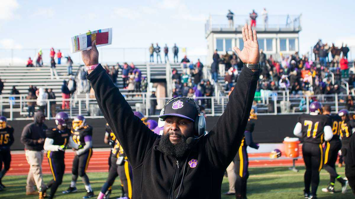 Ed Dunn's first season as head coach of the MLK High Cougars football team ended with a Thanksgiving Day win. Check back this week for a profile on him. (Brad Larrison/for NewsWorks)