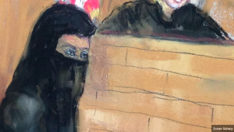 Keonna Thomas is depicted shown in Philadelphia's federal court in this artist's rendering. Prosecutors allege she wanted to join the Islamic State group