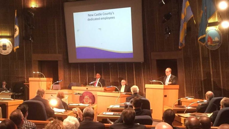 NCCo Exec. Tom Gordon delivers his budget proposal to County Council in March. (file/WHYY)