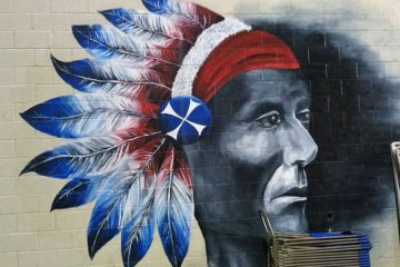 A mural at Neshaminy High School depicts the school mascot