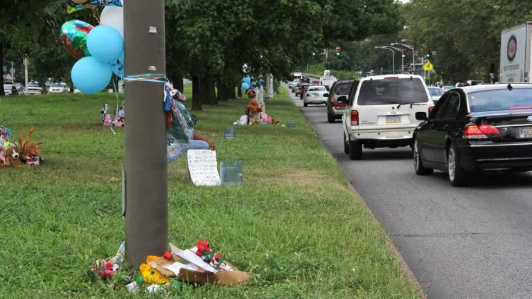 Memorials mark the area of Roosevelt Boulevard near 2nd Street where Samara Banks and three children were killed as they attempted to cross Roosevelt Blvd., a 12-lane roadway. (Emma Lee/for NewsWorks)