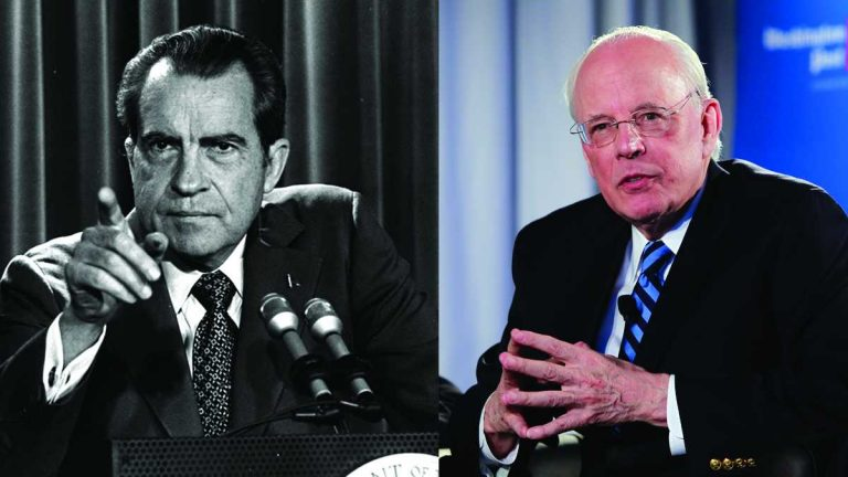 President Nixon pictured here in this March 15, 1973, file photo, and John Dean (right), White House counsel to President Nixon, on Monday, June 11, 2012 (Charles Tasnadi and Alex Brandon/AP Photos)