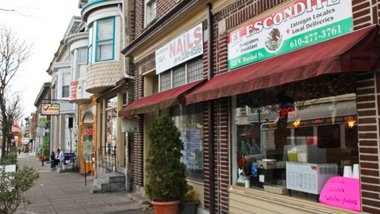 Marshall Street is the main commercial corridor for Norristown's Latino businesses. The town's Latino population has skyrocketed in the last decade, bringing economic vitality, and also an increase in the presence of federal immigration enforcement. (Kimberly Paynter/for NewsWorks)