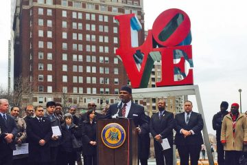Imam Mikal Shabazz is shown on March 31 encouraging listeners not to blame SEPTA for anti-Muslim ads. (Bobby Allyn/WHYY, file)