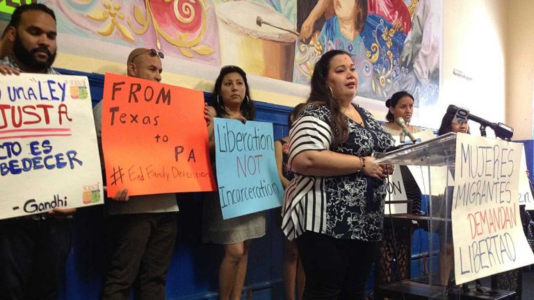 In June, Erika Almiron, executive director of Juntos, a Latino community advocacy organization, calls for closing the Berks Family Detention Center and the release of its residents. The Pennsylvania Department of Human Services has decided not to renew the center's license.   (NewsWorks file photo)
