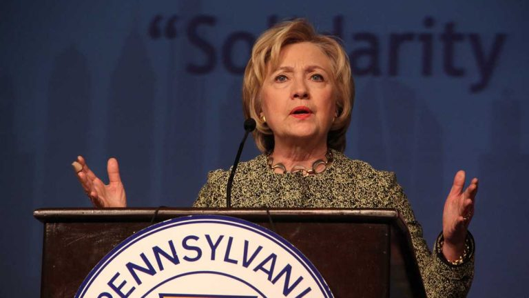 Hillary Clinton speaks at AFL-CIO convention in Philadelphia in April 2016. (Emma Lee/WHYY)