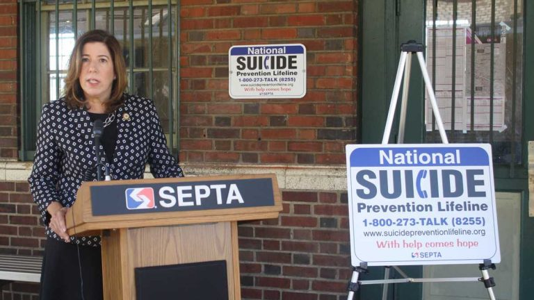 Montgomery County Commissioner Leslie Richards is shown in September announcing a program to put National Suicide Prevention Lifeline information in SEPTA stations. (Image courtesy of Montgomery County Emergency Services)