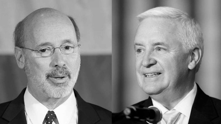 Pennsylvania Democratic gubernatorial candidate Tom Wolf (left) and Pennsylvania Gov. Tom Corbett. (Matt Rourke/AP Photos)