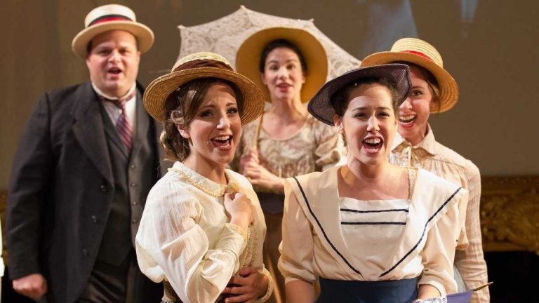(From left) Scott Greer, Rachel Camp, Sarah Gliko, Alex Keiper and Caroline Dooner of the ensemble in Arden Theatre Company's production of 'Parade,' which received 15 Barrymore Award nominations,  more any other  production in the 2013-14 theater season here. Gliko and Keiper each received supporting actress nominations. (Photo courtesy of Mark Garvin)