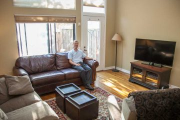 A Philadelphia resident in the Art Museum neighborhood shows off his home