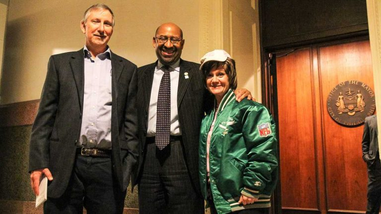 (L-R) Dave Davies, Mayor Michael Nutter, Patsy. (NewsWorks, file art)