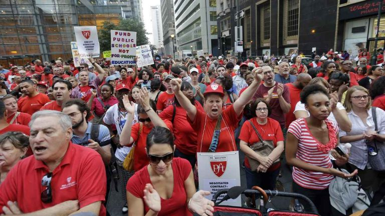 Members of the Philadelphia Federation of Teachers at a center city rally. The U.S. Supreme Court decision Wednesday could cripple the political influence of teachers' unions. (Matt Rourke/AP Photo, file)