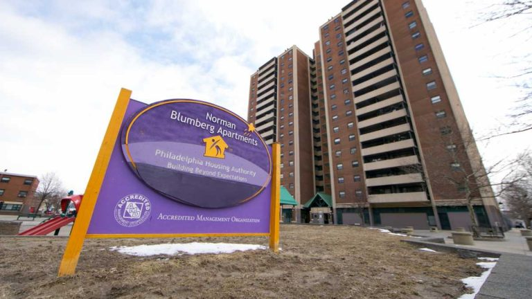 The Norman Blumberg Apartments will be demolished as part of a plan to reclaim by eminent domain 1,330 properties from 19th Street to 28th Street to Cecil B. Moore Avenue to the north and College Avenue to the south. (NewsWorks file photo)
