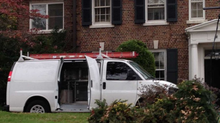 A PSPCA van was parked in the driveway outside of Grace Kelly's childhood home on Halloween. (Brian Hickey/WHYY)