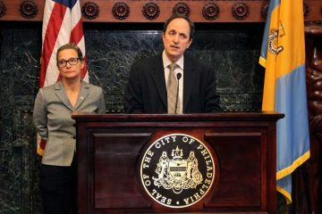 Rob Dubow, Philadelphia's Director of Finance and Chief Education Officer Lori Shorr evaluated ideas being discussed on how to fund the city schools. (Emma Lee/WHYY)