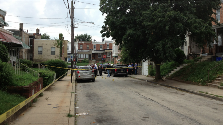 The scene at the police shoot-out in East Mt. Airy on July 22. (Bas Slabbers/for NewsWorks, file)