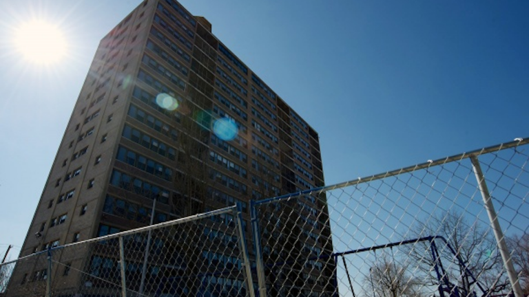 The fate of the Queen Lane Apartments tower in Germantown remains in limbo. (Bas Slabbers/for NewsWorks)