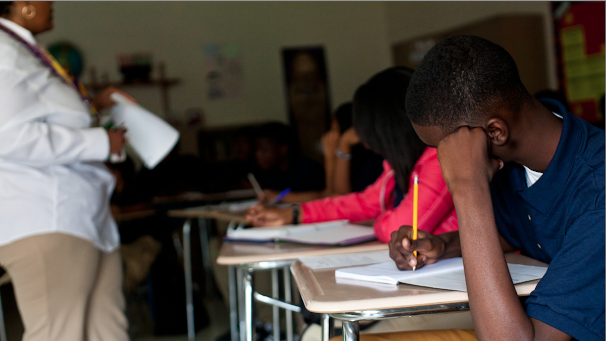On Monday, students were back at their desks at Martin Luther King High School in West Oak Lane. (Brad Larrison/for NewsWorks)