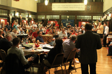 It was a packed house at an October community meeting held to discuss the Wendy's proposal. (NewsWorks, file art)