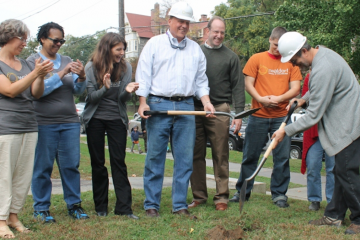 Ground was broken in October at Wayne Avenue and Harvey Street for the Waldorf School of Philadelphia's future site. (Matthew Grady/for NewsWorks)
