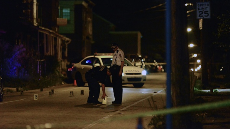 Police on the scene after Nafis Armstead was shot in Mt. Airy. (Bas Slabbers/for NewsWorks)