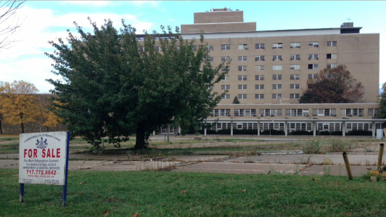 Civic groups from the area surrounding the EPPI site did not want to see the mid-century monolith turned into another social-services institution.(Brian Hickey/WHYY)