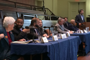 Six mayoral candidates (and one policy director) spoke up at the Better Mobility Forum in March. (Dena Driscoll/for NewsWorks)