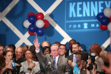 Jim Kenney celebrates his landslide victory in the Democratic-mayoral primary. (Stephanie Aaronson/via The Next Mayor partnership)