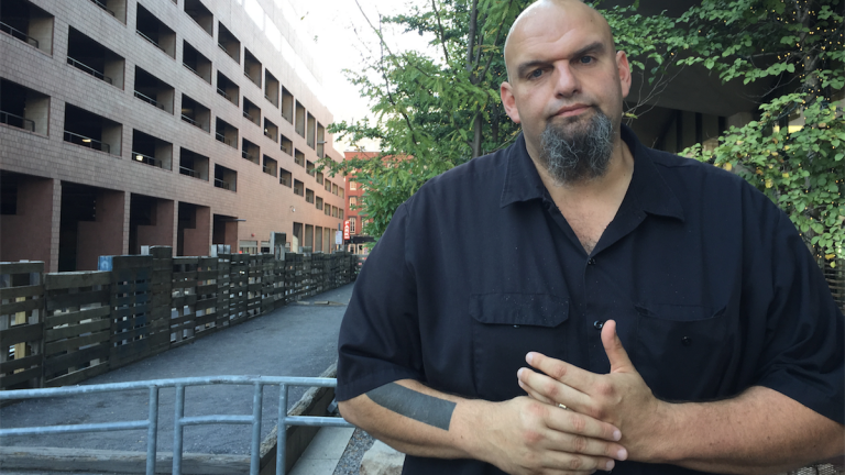 John Fetterman will return to Philadelphia tonight as his campaign for U.S. Senate continues to gain traction and/or widespread media attention. (Brian Hickey/WHYY)