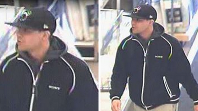 Surveillance images of Marcus F. Velazquez, 29, of Puffin Glade in Bayville, who has been arrested and charged with robbery. (Images courtesy of the Toms River Police Department)