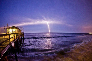 A lightning strike over the ocean as seen from Ocean Grove. (Photo: Chris Spiegel/Blur Revision Media Design)
