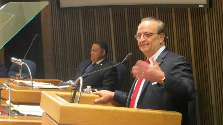 New Castle County Executive Tom Gordon speaks in front of County Council in Wilmington. (WHYY/File)
