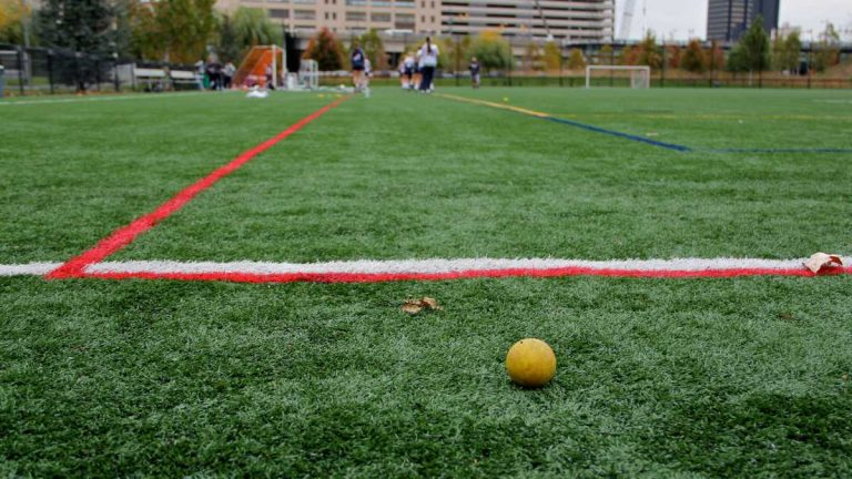 An artificial turf practice field at the University of Pennsylvania. (Emma Lee / WHYY)