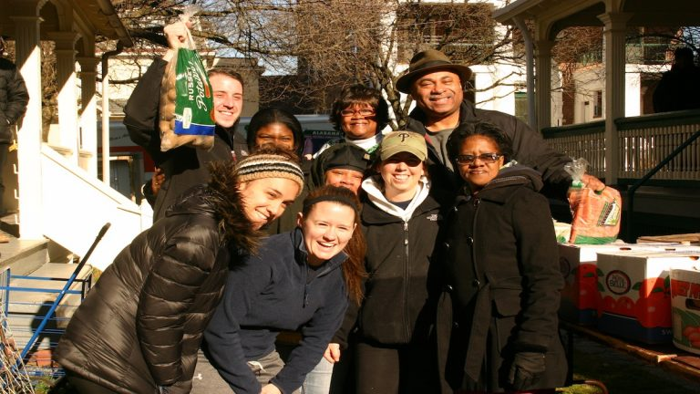 Participants from last spring's La Salle food drive. The food drive led to the launch of the Germantown Hunger Network. (Courtesy of Tom Wingert)