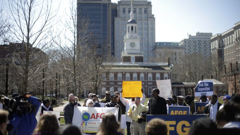 Government workers, supporting union members and activists protest against the across-the-board federal spending cuts at Independence National Historical Park, in view of Independence Hall in Philadelphia.  (AP Photo/Matt Rourke, file)