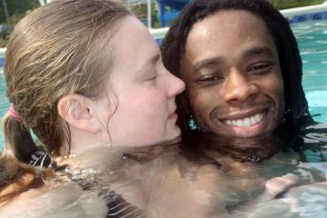The author is shown in the pool with her husband shortly after his swimming class ended. (Image courtesy of Alaina Mabaso)