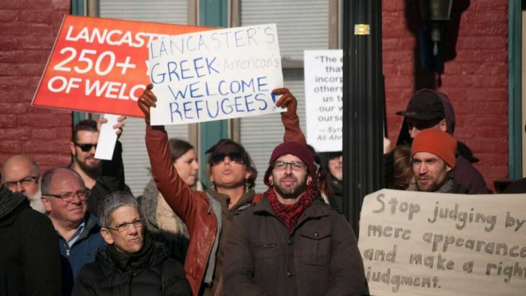 About 250 people demonstrated in support of refugee resettlement as a counter to a protest staged outside Church World Service's office in Lancaster last winter. The city of 60