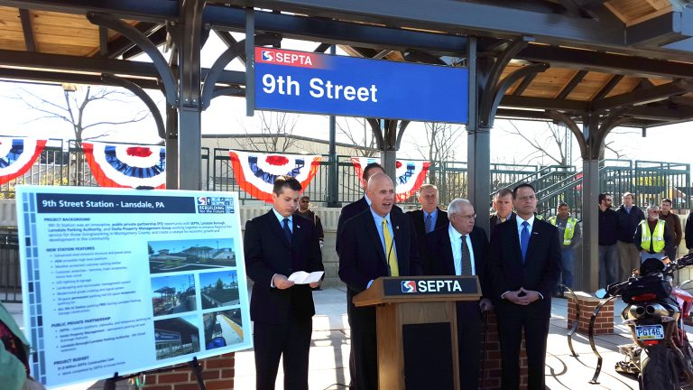 SEPTA general manager Jeff Knueppel introduces Lansdale's new Ninth Street Station, as, from left, Congressman Brendan Boyle, Lansdale Borough Manager Jacob Ziegler, state Rep. Bob Godshall, SEPTA Assistant General Manager Robert Lund and Montgomery County Commissioner Josh Shapiro look on. (Laura Benshoff/WHYY)