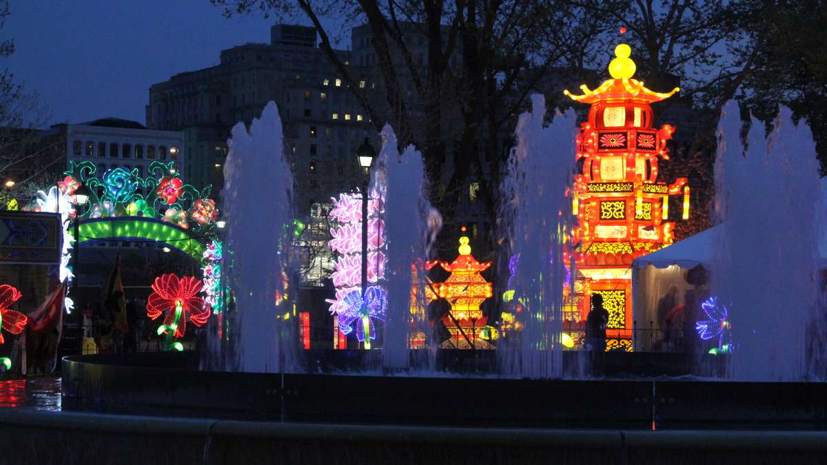 A night-time shot at the Chinese Lantern Festival in Franklin Square. (Emma Lee/WHYY)