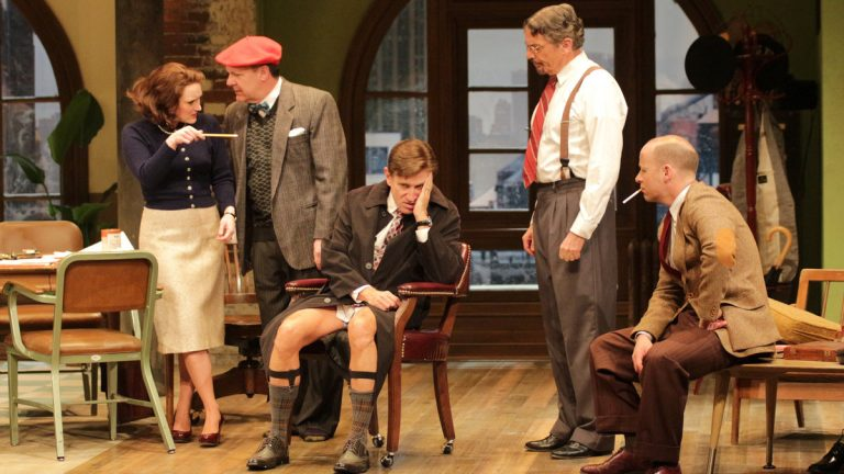 From left, Megan McDermott, Bruce Graham, David Edwards, Carl Wallnau and George Deihl in Bristol Riverside Theatre's production of 'Laughter on the 23rd Floor' (Photo courtesy of Bristol Riverside Theatre)
