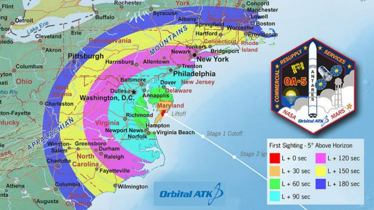 NASA map shows what time residents can see the rocket from their location. (photo courtesy NASA)