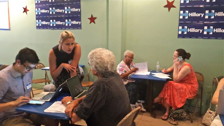 Second Congressional District volunteers work the phones for Hillary Clinton in Mt. Airy. (Laura Benshoff/WHYY)