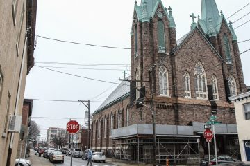 The rezoning bill was introduced by City Council President Darrell Clarke in January after stones fell from the church's facade and forced neighboring St. Laurentius School to close for three days. (Kimberly Paynter/WHYY)