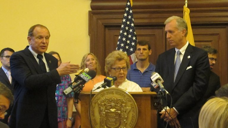 Senate Majority Leader Loretta Weinberg describes the Assembly's approach to replenishing the Transportation Trust Fund as asinine. She says the Senate will not condone the plan for a gas tax hike coupled with a reduction of the state sales tax. (Phil Gregory/WHYY)