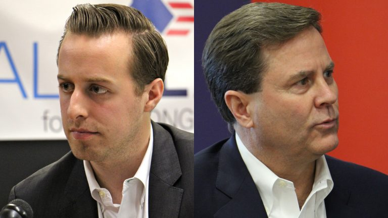 A debate between New Jersey 1st Congressional District Democratic candidates Alex Law (left) and Donald Norcross was cancelled. (Emma Lee/WHYY)
