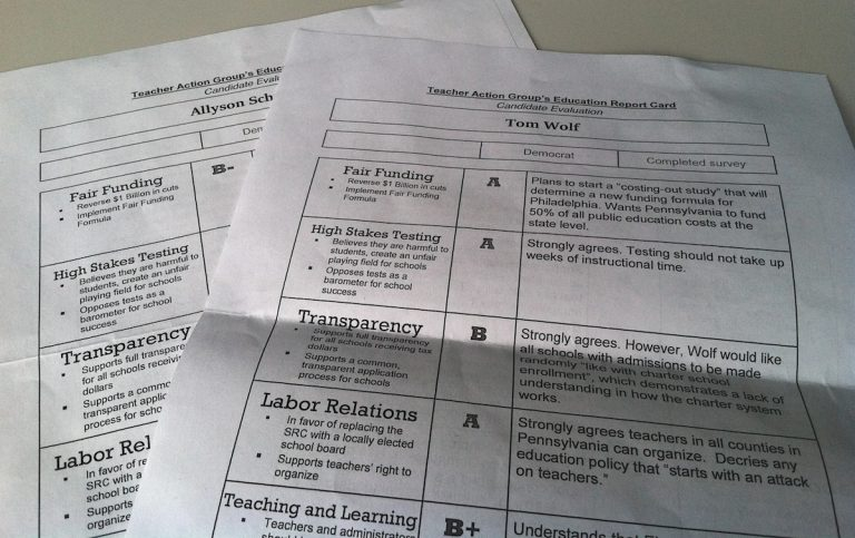 Report cards from last year's PA gubernatorial election shared candidates' views on fair funding, high stakes testing, transparency, labor relations and teaching practices. (Laura Benshoff/WHYY)