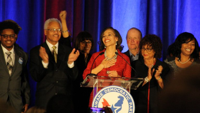 Lisa Blunt Rochester celebrates her win with family and friends in downtown Wilmington. (Mark Eichmann/WHYY)