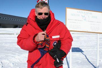 Tom Gaisser at the geographic South Pole. (Photo courtesy of Tom Gaisser)